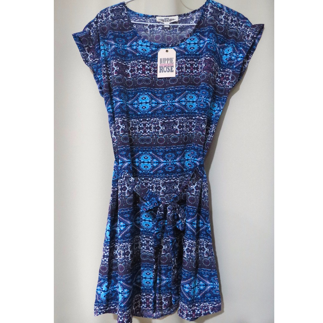 Authentic Brand New Hippie Rose designer aztec blue dress (#64)