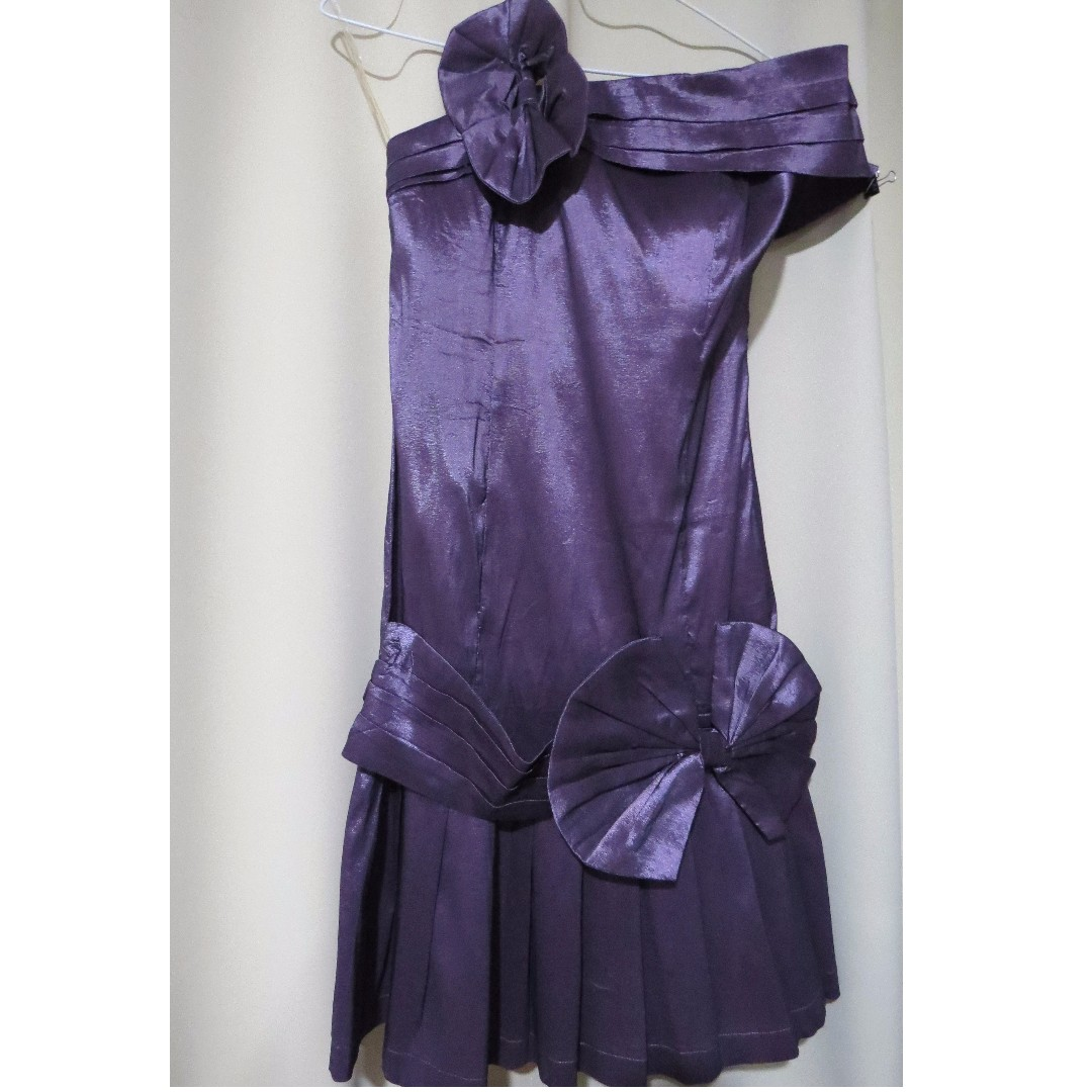 Authentic Brand New Romeo and Juliet designer plain metallic violet dress (#74)