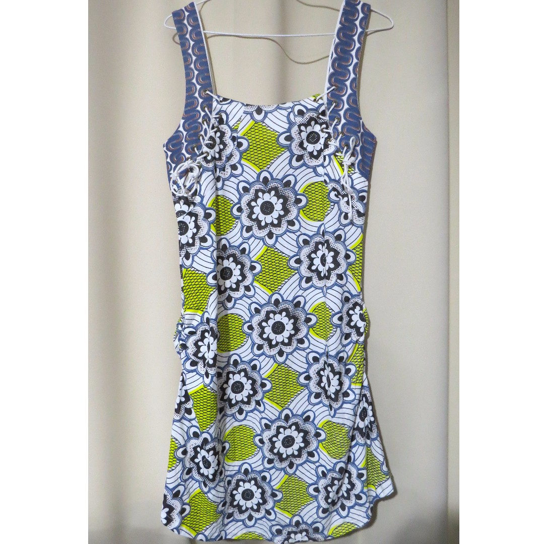 Authentic Brand new Scrapbook Originals designer floral printed yellow blue sleeveless dress (#70)