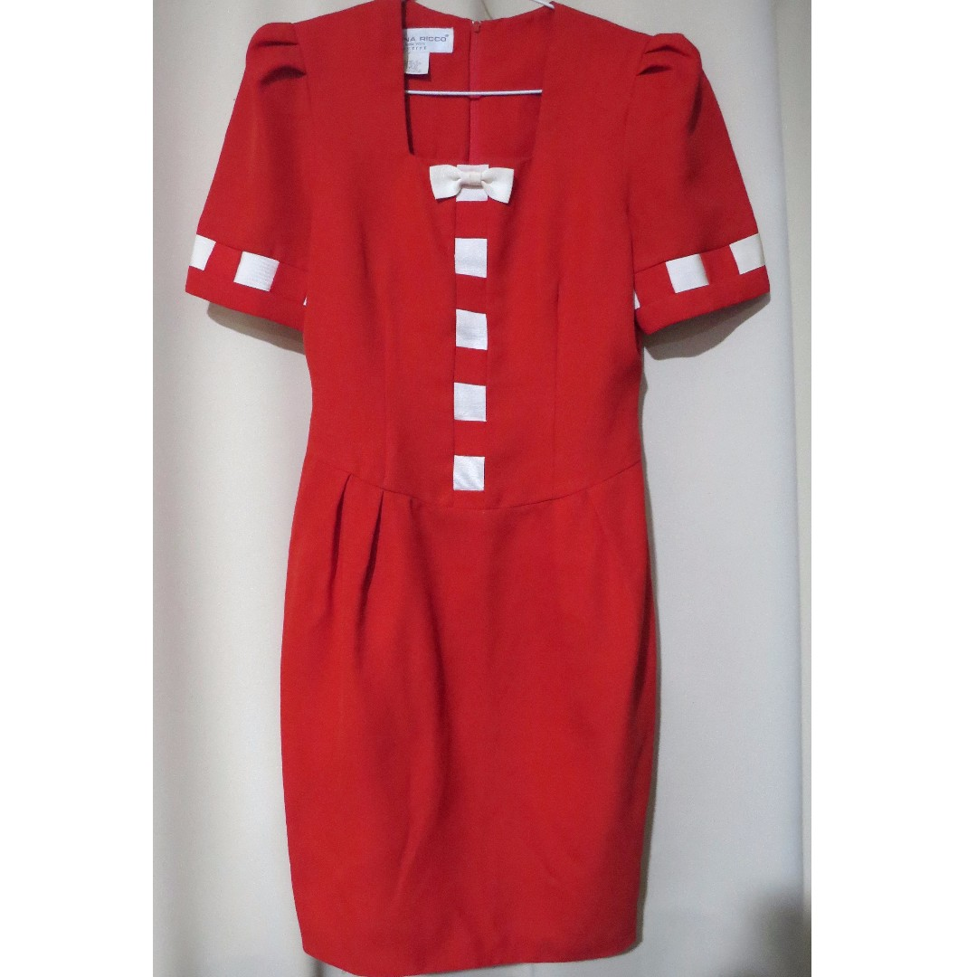 Authentic Donna Ricco New York designer red white bow dress (#71)