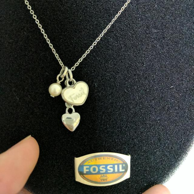 Authentic Fossil Mother Of Pearl Heart Necklace