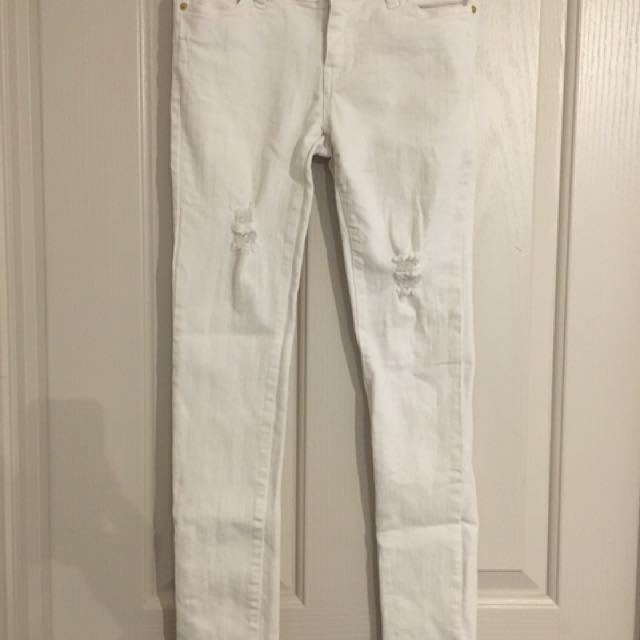 Bardot White Ripped Jeans