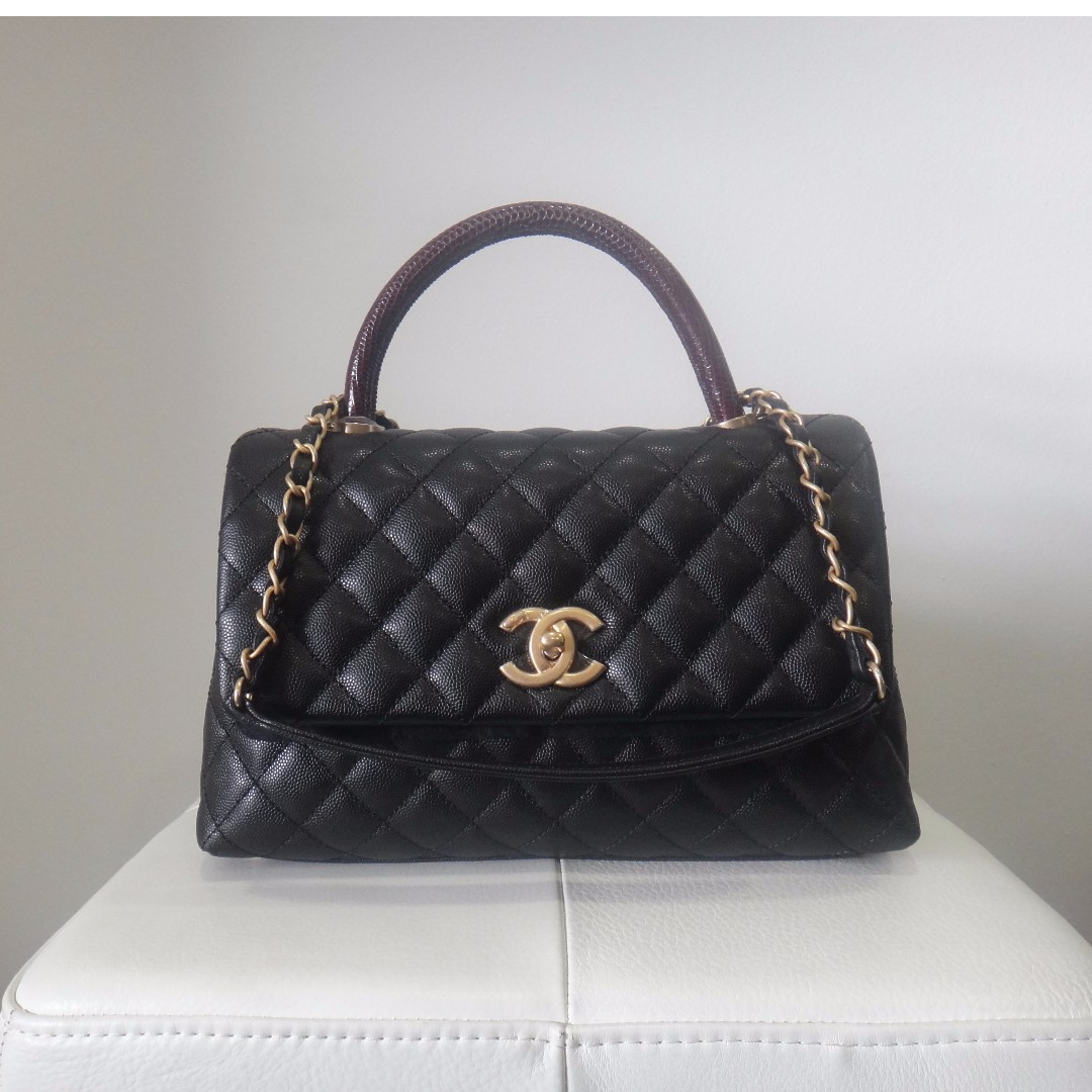 7611421b7e064f BNIB Chanel Small Coco Handle Bag Black W/ Lizard Skin Handle ...