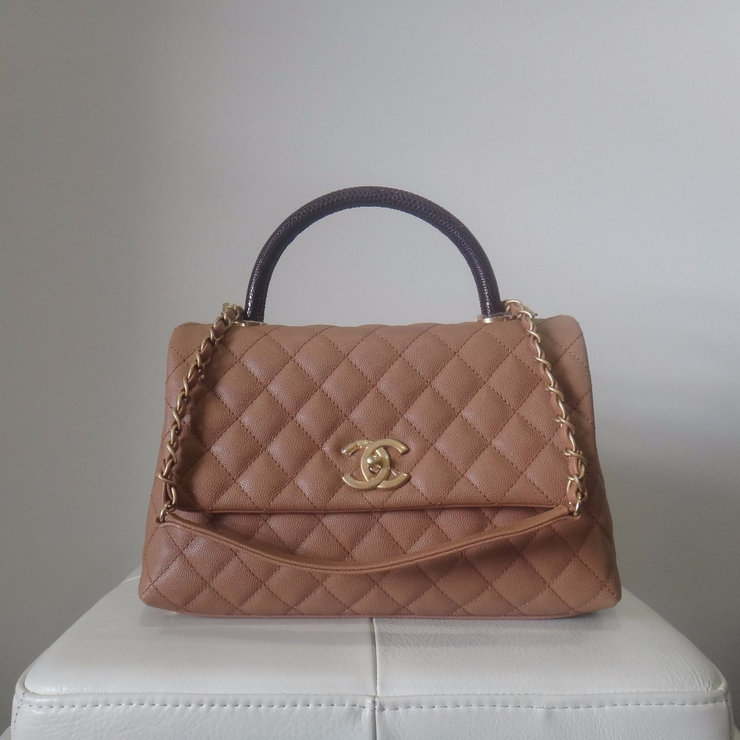 797890142e3abf BNIB Chanel Small Coco Handle Bag Caramel W/ Lizard Skin Handle ...