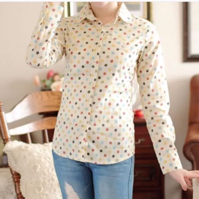Cute Small Cream Colour Wave Point Women/ Girl/ Student Blouse