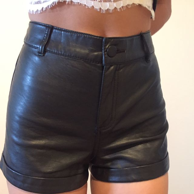 Faux Leather H&M Shorts