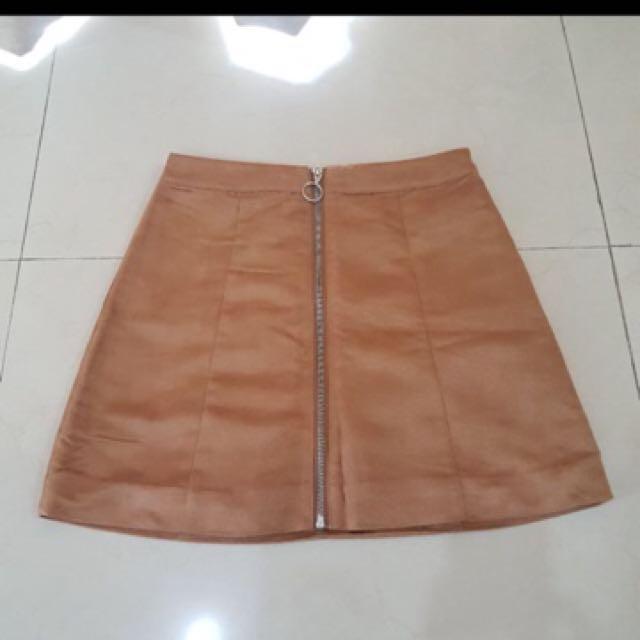 H&M Brown Zipper Skirt