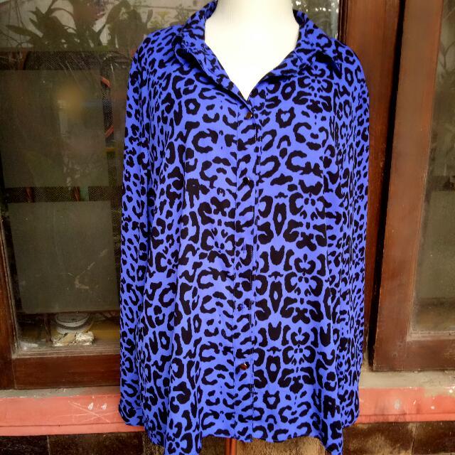(Reprice) Kemeja Blue Leopard