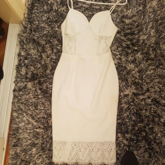Lace Side White Dress