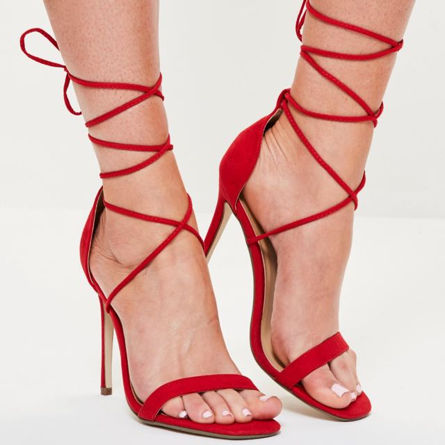 Missguided Lace Up Red Heels