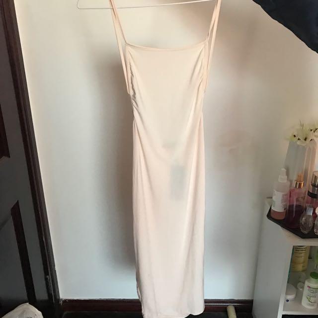Nude Backless Midi Dress