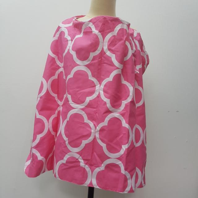 Nursing Apron Cover Cotton With Pouch Bag  Pink Penutup Menyusui Tutup Breastfeeding