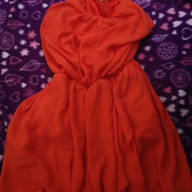 Orange Flowy Dress
