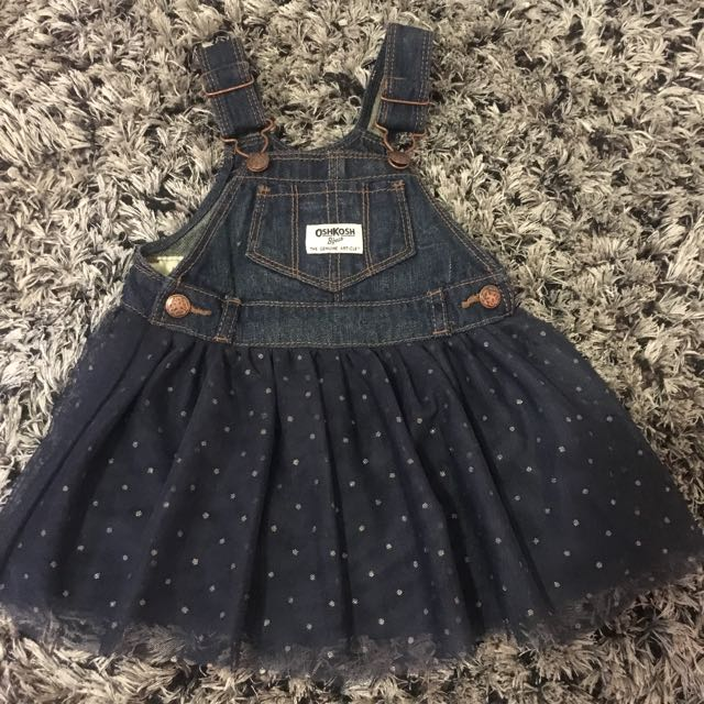 6d462640a0 Oshkosh Denim Overall Dress Tutu Size 9M