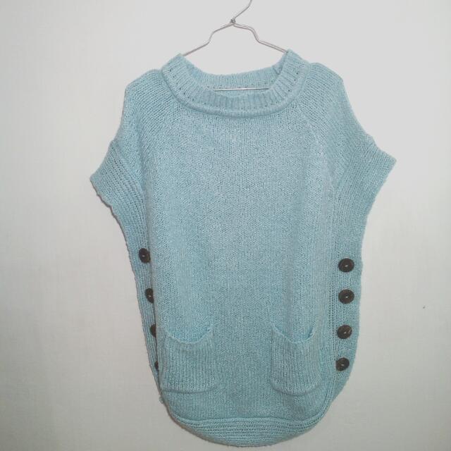 Outer Sweater Rajut Biru Muda