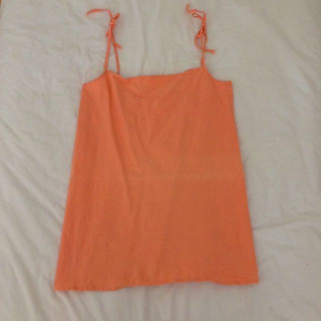 peach tie up slip dress