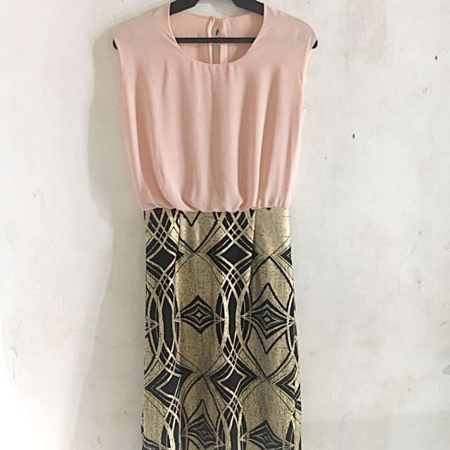 Peach With Gold Accent Dress
