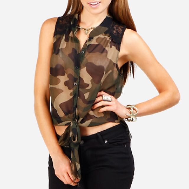 People Are People Camo Lace Shoulder Top