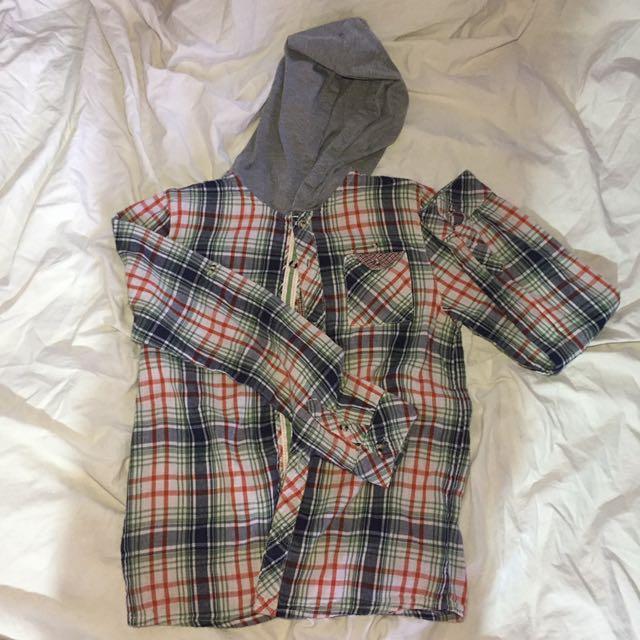 POSH Checkered Long-sleeves W/ Hood