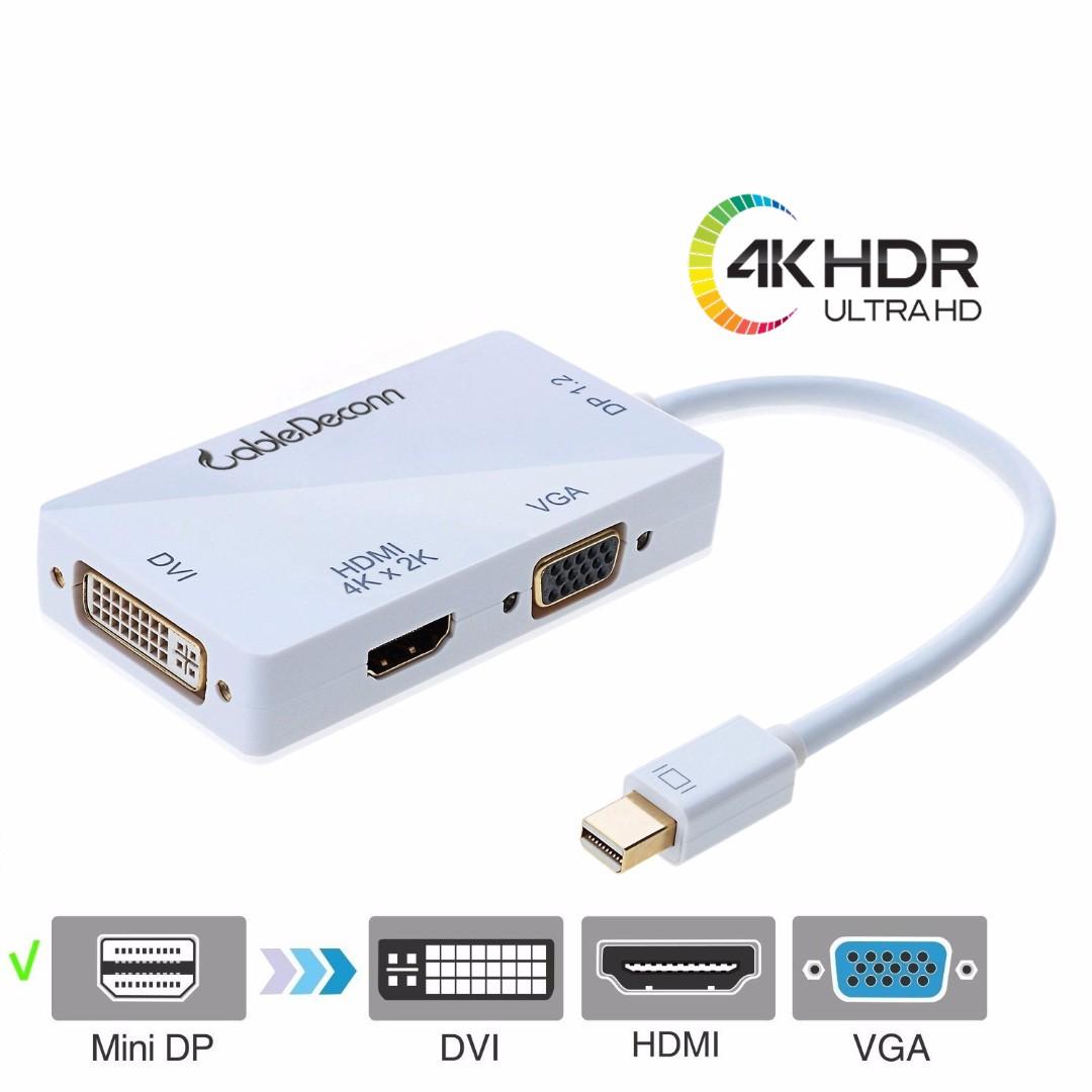 *Quality* 4K Mini DisplayPort Adapter, 3-in-1 Mini DisplayPort to DVI VGA  HDMI TV HDTV Adapter Converter Full 4k X 2k Resolution