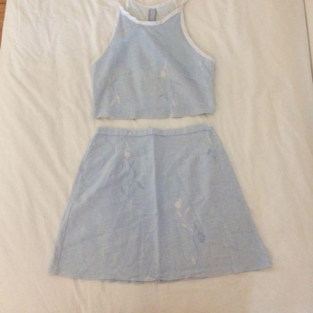 rrp $120 - two piece linen skirt + crop set