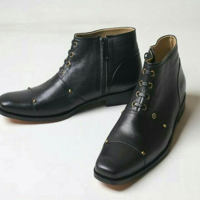 Sepatu Kulit Boots Flavio Dante Hitam