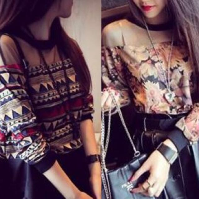 Sheer printed Pullover