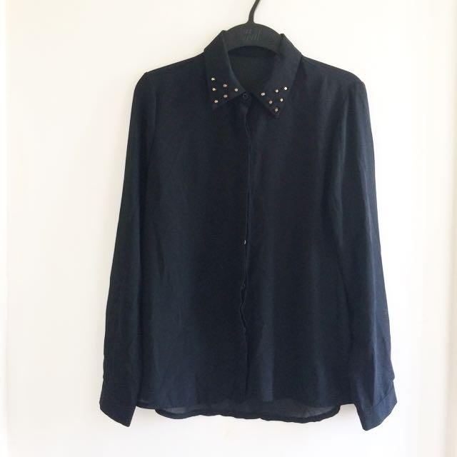 Studded chiffon blouse