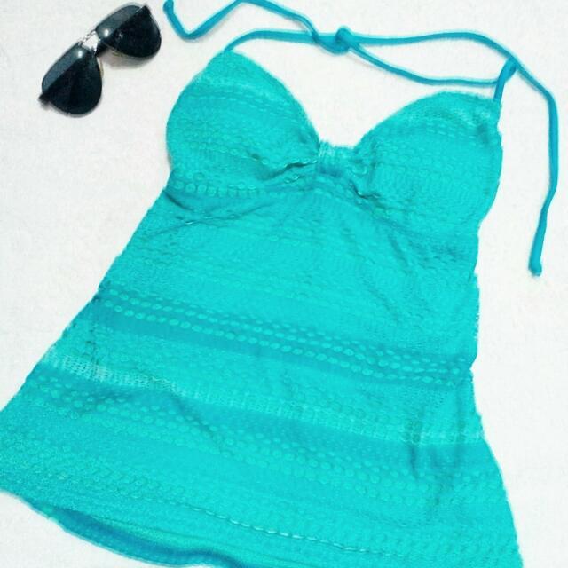 Swimwear top green blue