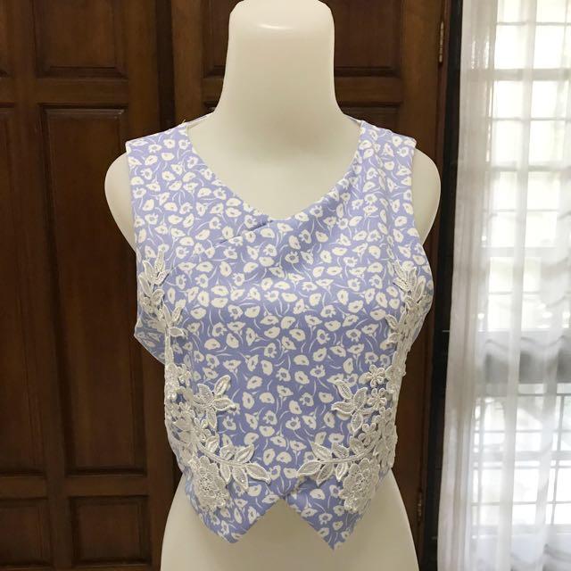 TOPSHOP lace Blue Pastel Top
