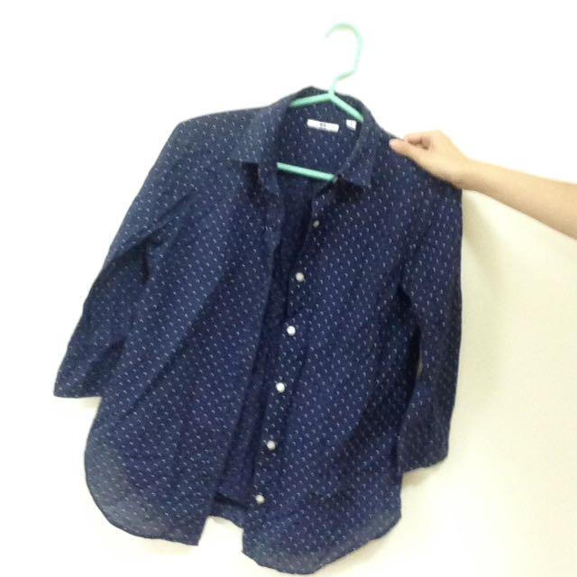 Uniqlo 點點七分袖襯衫
