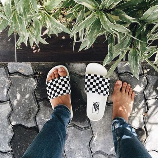 09a10ff521 Vans Slide On Checkerboard - White   Black