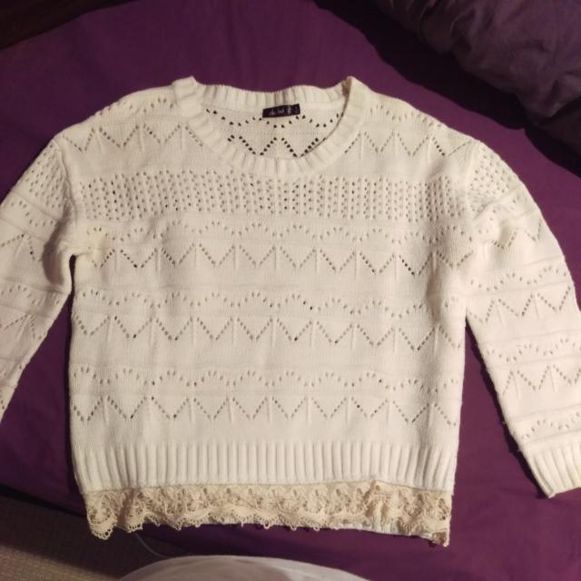 White Valleygirl Sweater