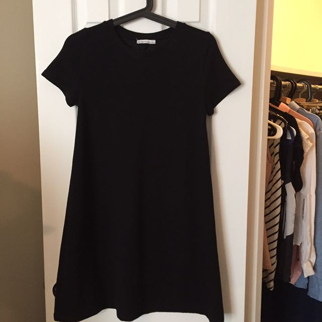 ZARA A-Line T-Shirt Black Dress