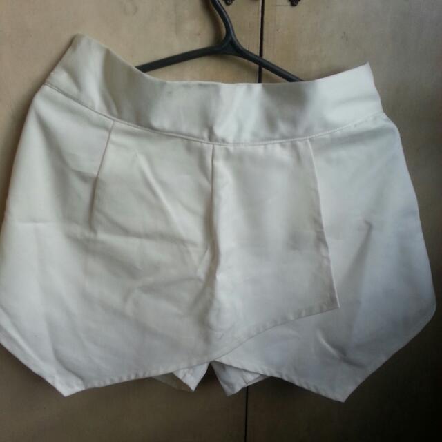 zara inspired origami white shorts