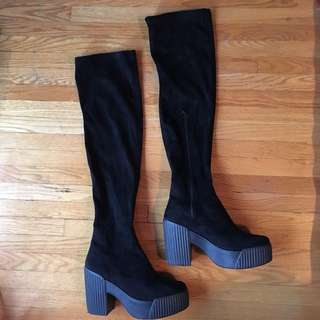 Topshop Suede Thigh High Boots