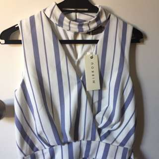 Mirrou Striped Blue Top