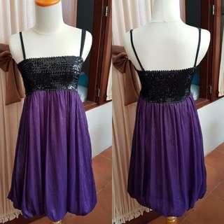 Dress Party Black Purple Sequin