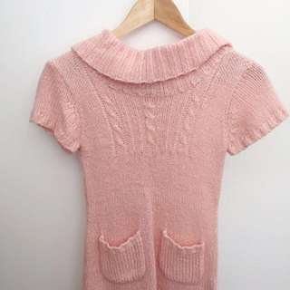 Pink Wool Turtleneck Dress- Girls