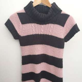 Pink and Brown Striped Turtleneck Dress- Girls