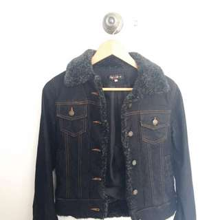 Faux Fur Black Denim Jacket
