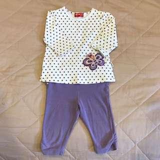Whyand12 紫色亮片蝴蝶 五分袖 上衣+褲子套裝 90cm