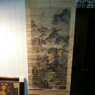 王翬山水國畫59×130公分