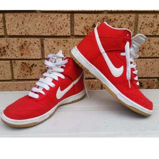 PRICE DROP! - RED NIKE DUNKS HIGH SIZE WOMENS US7