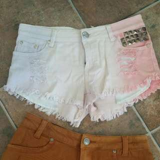 Studded Reverse Denim Shorts