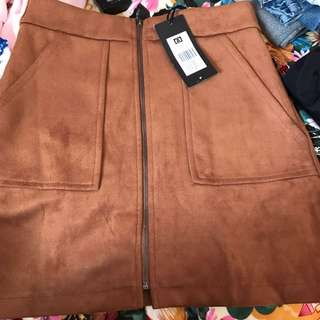 Tan Zip Skirt