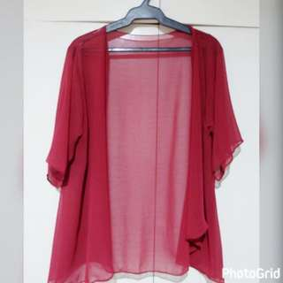 Red Chiffon Cover Up Blouse