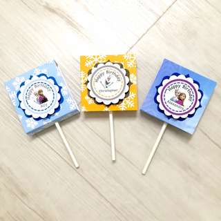 Frozen theme organic lollipops for goodie bags, children's day, birthday parties, party favours