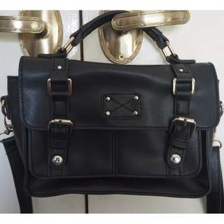 Black Faux Fake Leather Handbag Shoulder Bag