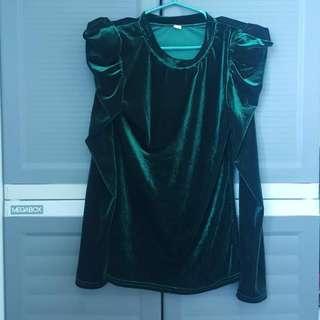 Green Velvet Top